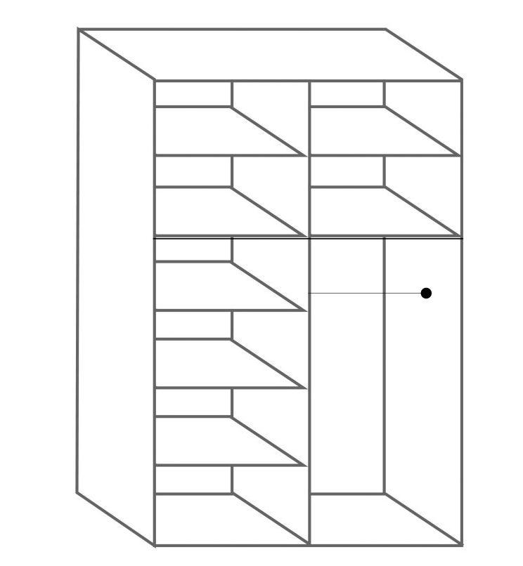 חלוקה פנימית ארון 2 דלתות