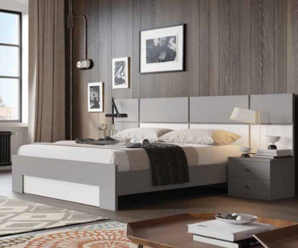 מיטה במבע אפור