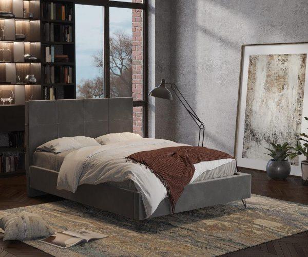 מיטה מרופדת בצבע אפור